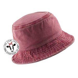 Red Denim Bucket Hat Fisherman Cap Stone Wash NWT